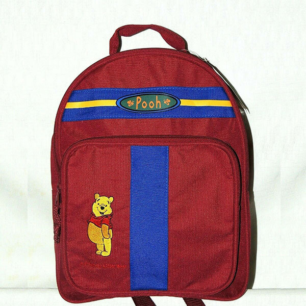 Burgandy Canvas Winnie the Pooh Backpack