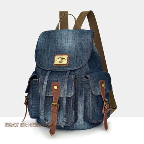 Satchel Canvas Denim Backpack
