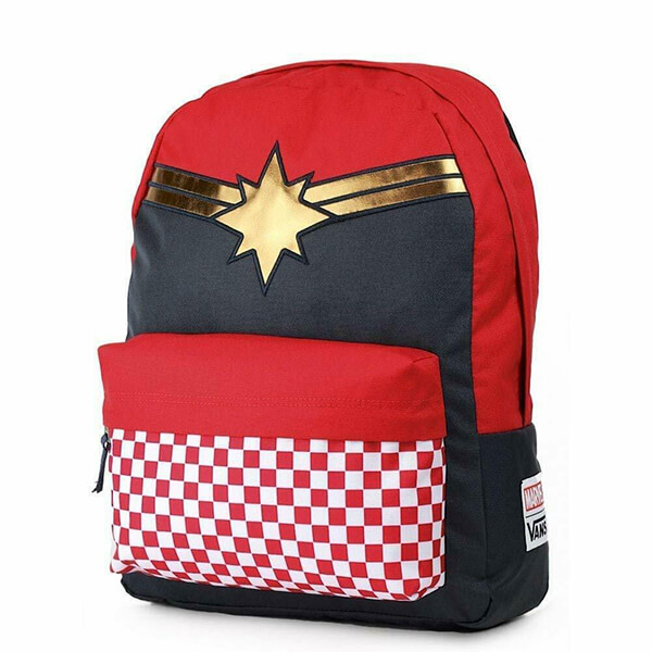 Checkered Racing Red Captain Marvel Backpack