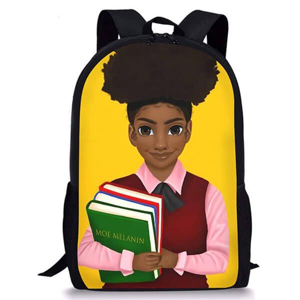 Moe Melanin Middle School Afro Girl Backpack