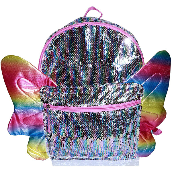 Rainbow Sequin School Supplies Butterfly Backpack with Wings