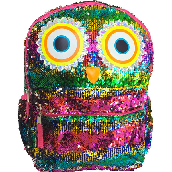 Rainbow Two-way Reversible Sequins Owl Backpack