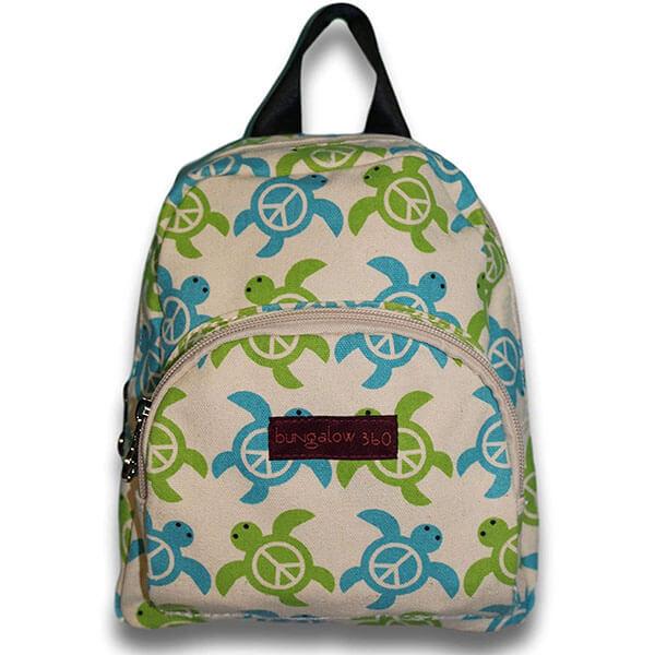 Cotton Canvas Sea Turtle Mini Backpack