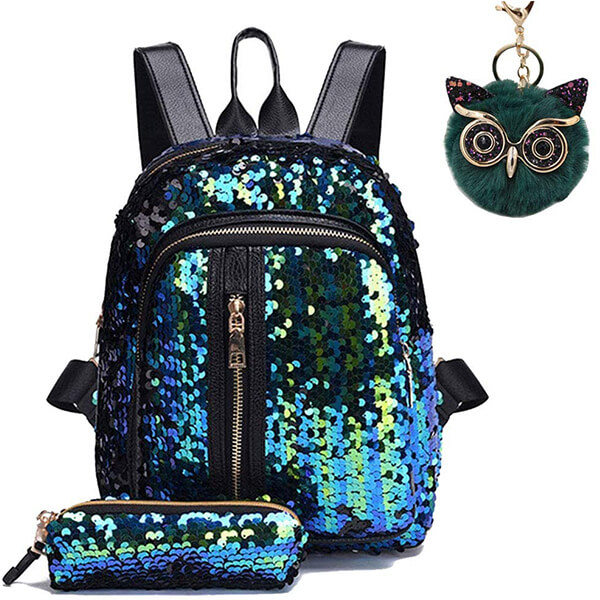 Sparkly Flip Owl Pendant Sequin Backpack Set