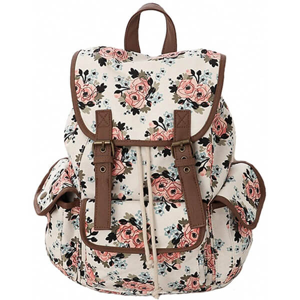 Canvas College School Girls Floral Backpack