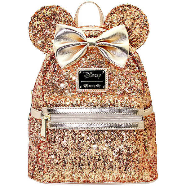 Disney Minnie Yellow Gold Leather Sequin Backpack