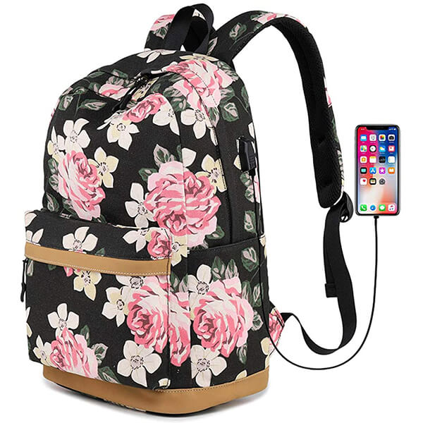 Laptop Fit Floral Backpack with USB Charging Port