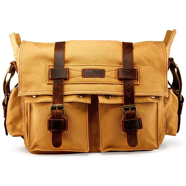Canvas Leather Messenger Bag for Schoolboys