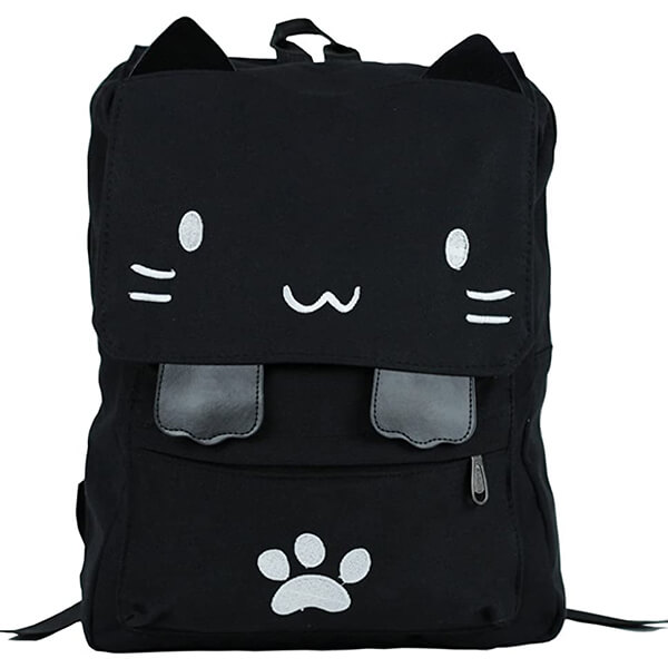 Embroidery Canvas Black Cat Backpack for School