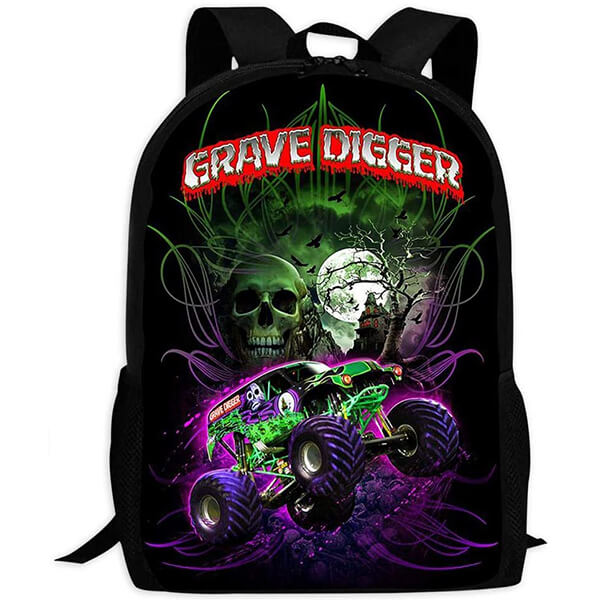 Comfortable and Flat Zipper Monster Jam Backpack