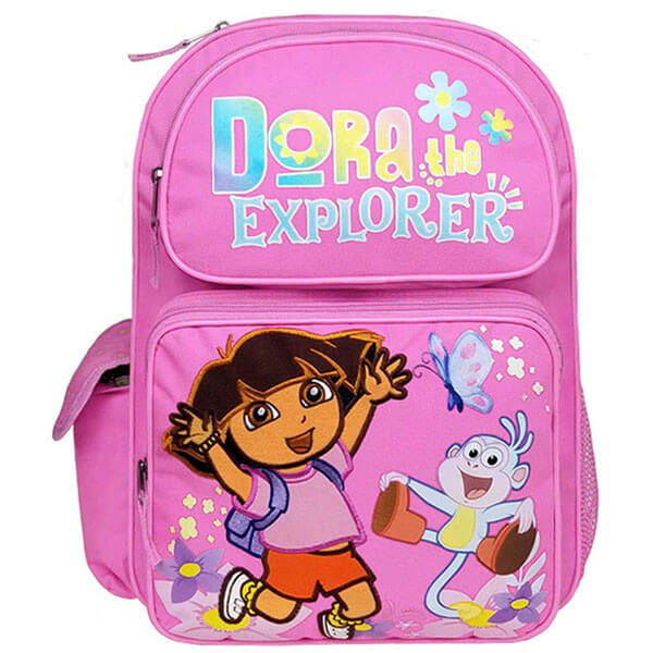 Dora Embroidered Pink Middle Schoolers Backpack
