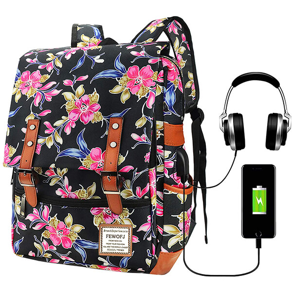 Nylon Fabric Headphone and USB Port Floral Backpack