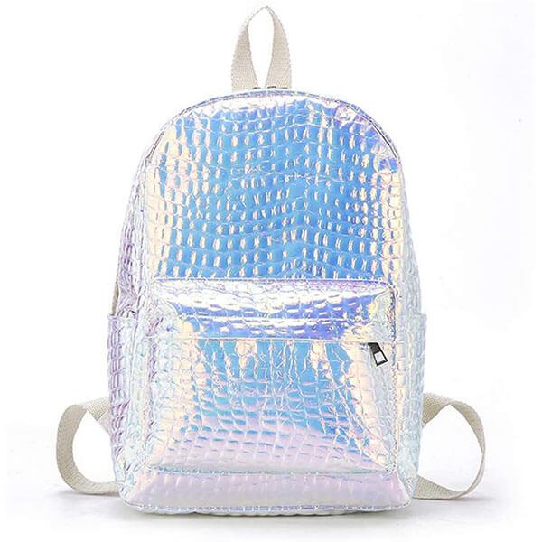 Silver Shiny Plaids Laser Backpack