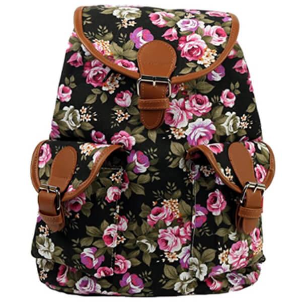 Black Vintage Canvas Satchel Flower Backpack