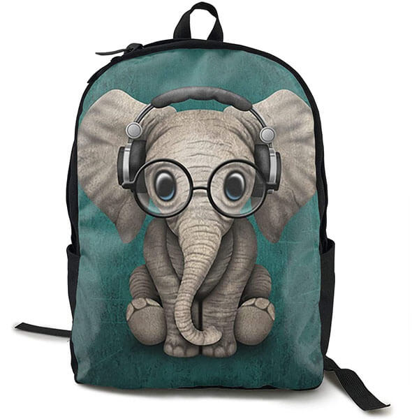 Elephant With Cool Glass and Earphone Backpack