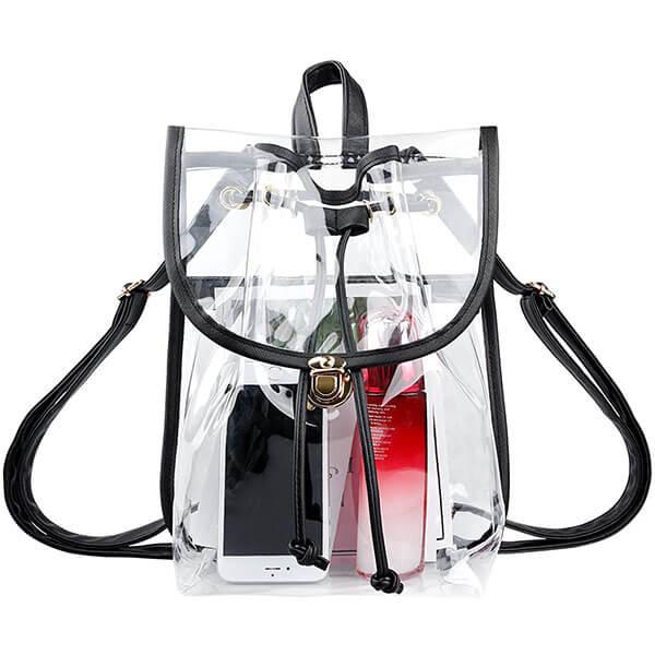 Heavy-Duty Drawstring Girls Clear Backpack