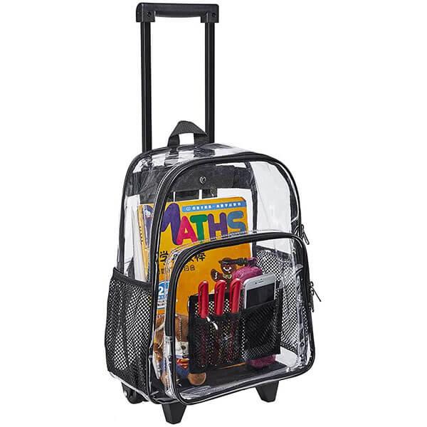 Black Wheels See Through Rolling Backpack