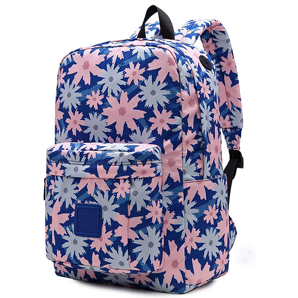 Water Resistant Polyester Navy Blue Floral Backpack