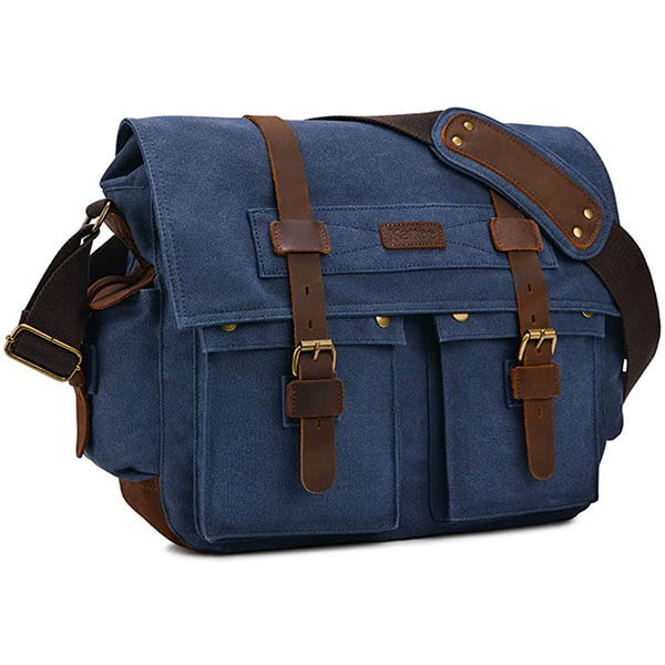 Blue Military Messenger Bag for Teenagers
