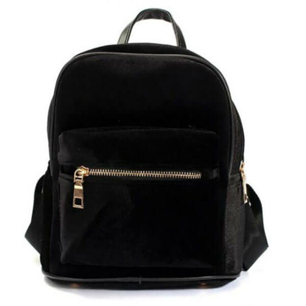 Retro Girl Velvet Satchel Mini Backpack