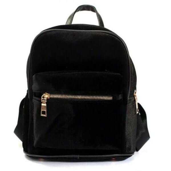 Retro Girl Velvet Satchel Mini Backpack