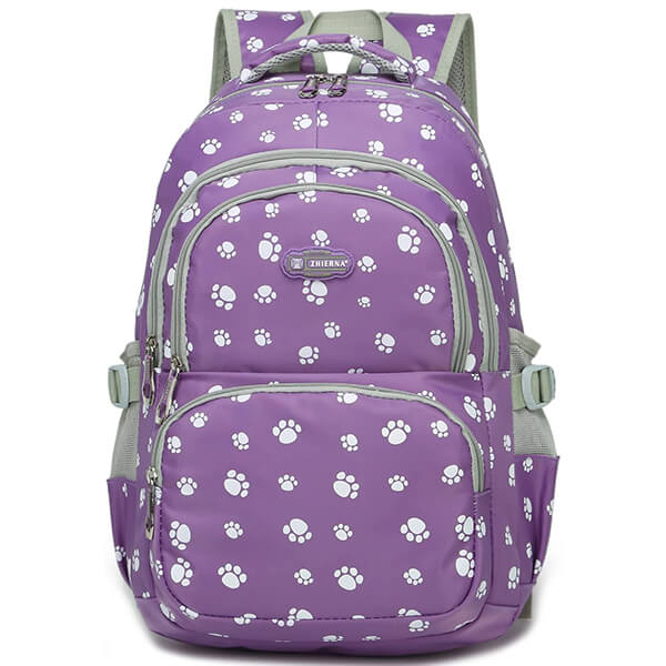 Water Resistant Purple Polyester Cat School Backpack