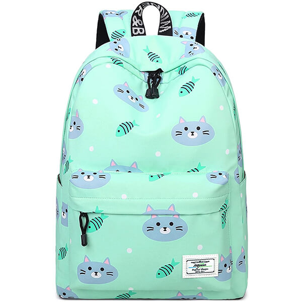 Green Cat and Fish 14-Inch Laptop Backpack