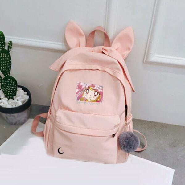 Light Pink Nylon Fabric Sailor Moon Backpack