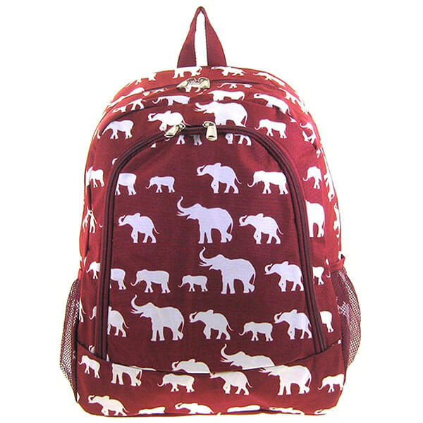 Multi-Pocket Red Elephant Backpack