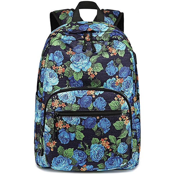 School Rose Backpack with USB Charging Port