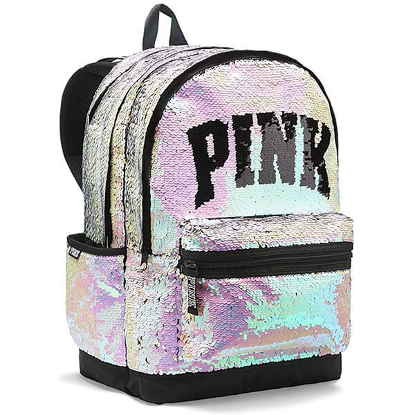 Silver-Pink New Campus Flip Sequins Backpack