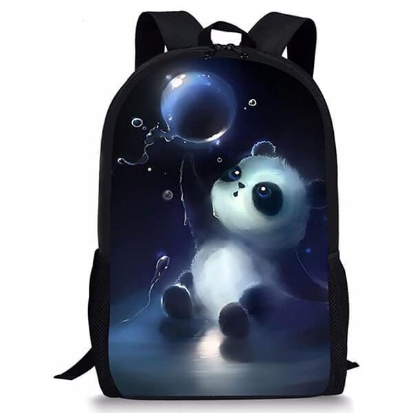 Balloon Printed Panda Bear Backpack for Teens