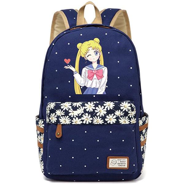 Dark Blue Canvas Fabric Sailor Moon Backpack