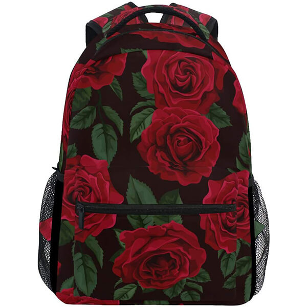 Gorgeous Black EPE foam Red Rose Schoolers Floral Backpack