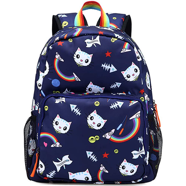 Rainbow Water-Resistant Cat Backpack for School