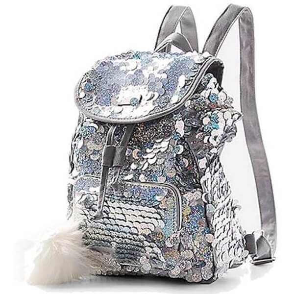 Dazzling Silver Girls Large Sequin Backpack