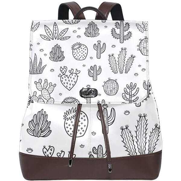Drawstring Button Closure Backpack