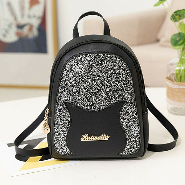 Faux Leather Teens Colorful Sequins Bag