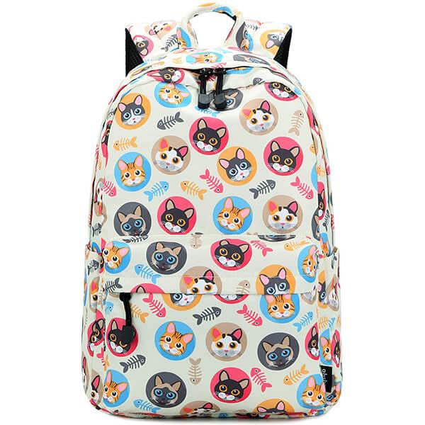 Multi-cat Faces Cat Backpack for Grade School