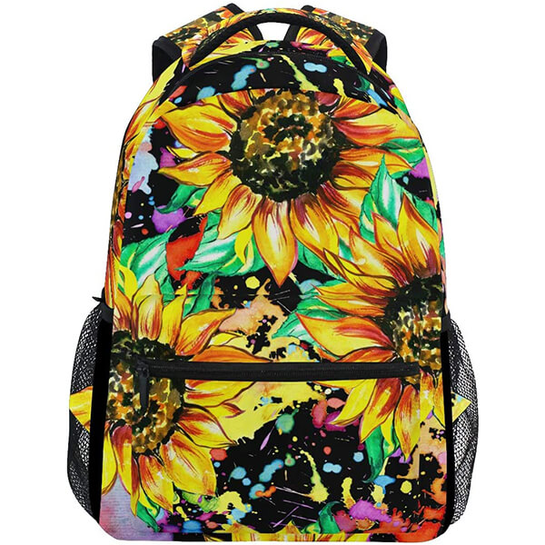 Sunflower Painting Stylish Yellow Twill Weave Floral Backpack