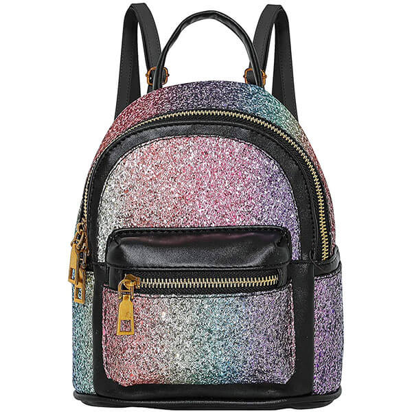 Black Rainbow Women Mini Backpack
