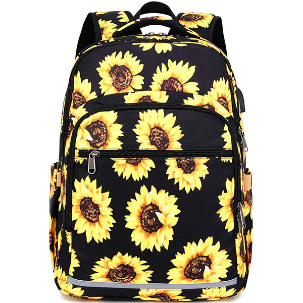 Black Yellow Water-Resistant Sunflower Backpack with USB Port