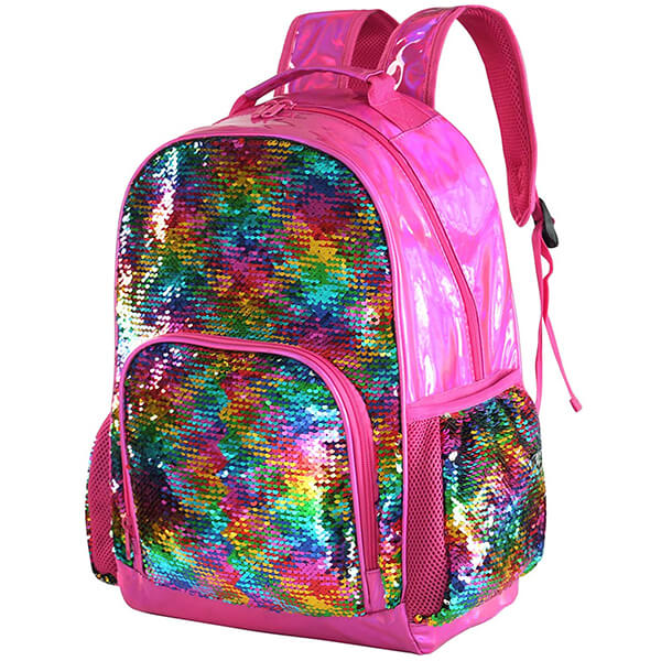 Holographic PU Leather Rainbow Sequin Backpack