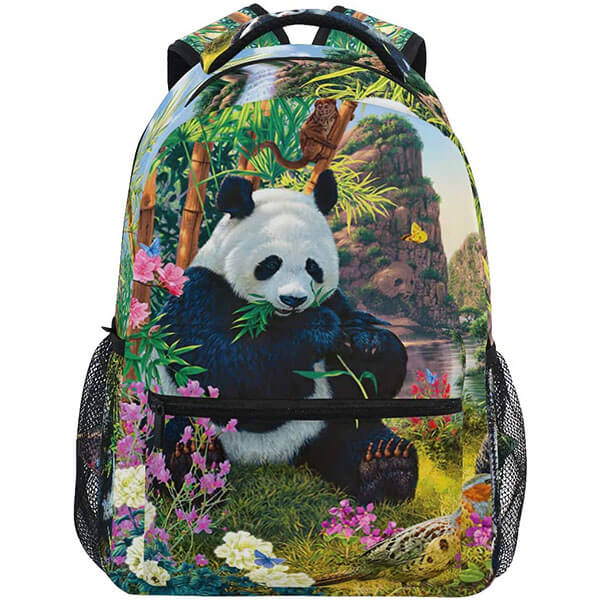 Vintage Kids Panda Backpack for School