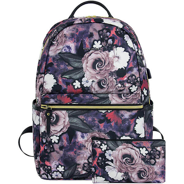 Water Repellent Rose Backpack for school