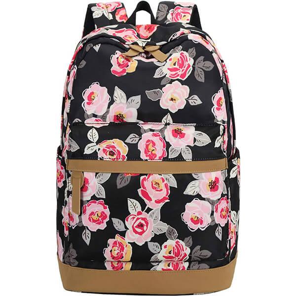 Black Pink Floral Secondary Schoolers Rainproof Backpack