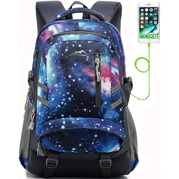 Anti-theft College Backpack with USB Slot