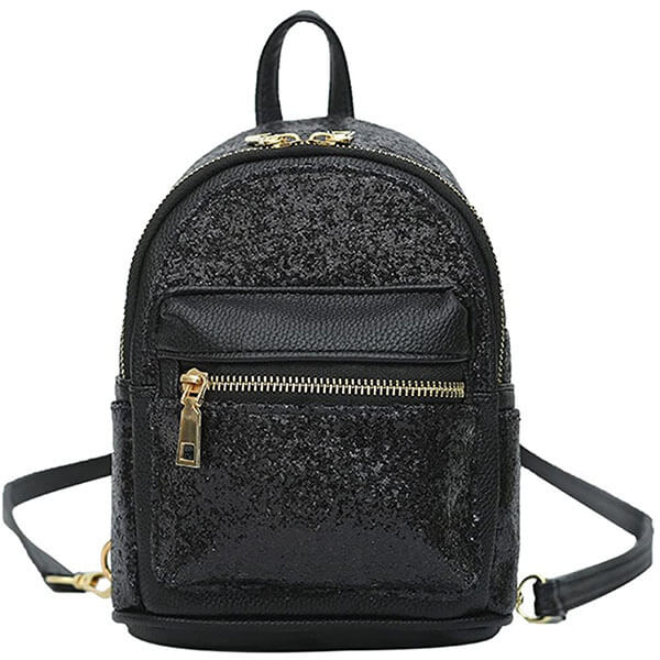 Black Sequin Leather Mini Backpack