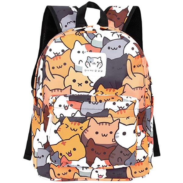Canvas Laptop Bag Lovely Cat School Backpack