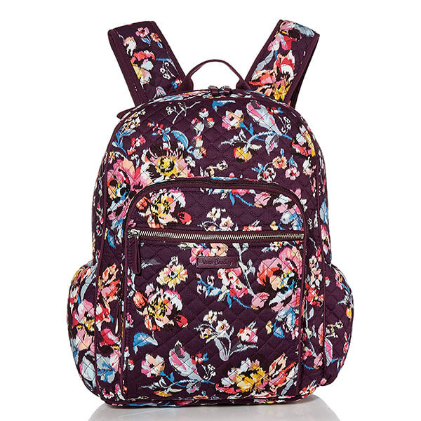 Cotton Backpack with Roses for Women